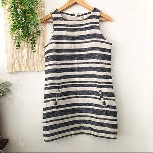 Striped Athena Jacquard Sleeveless Shift Dress XS